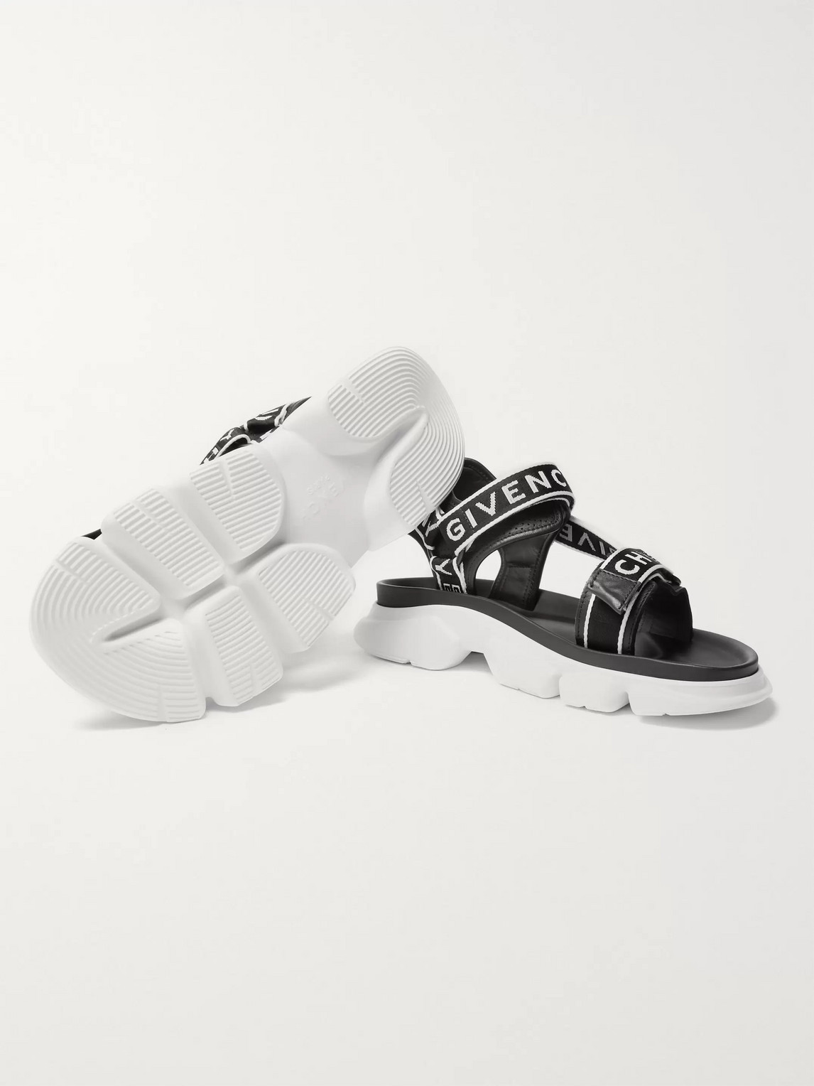Givenchy Sandals JAW LOGO-JACQUARD WEBBING AND FAUX LEATHER SANDALS