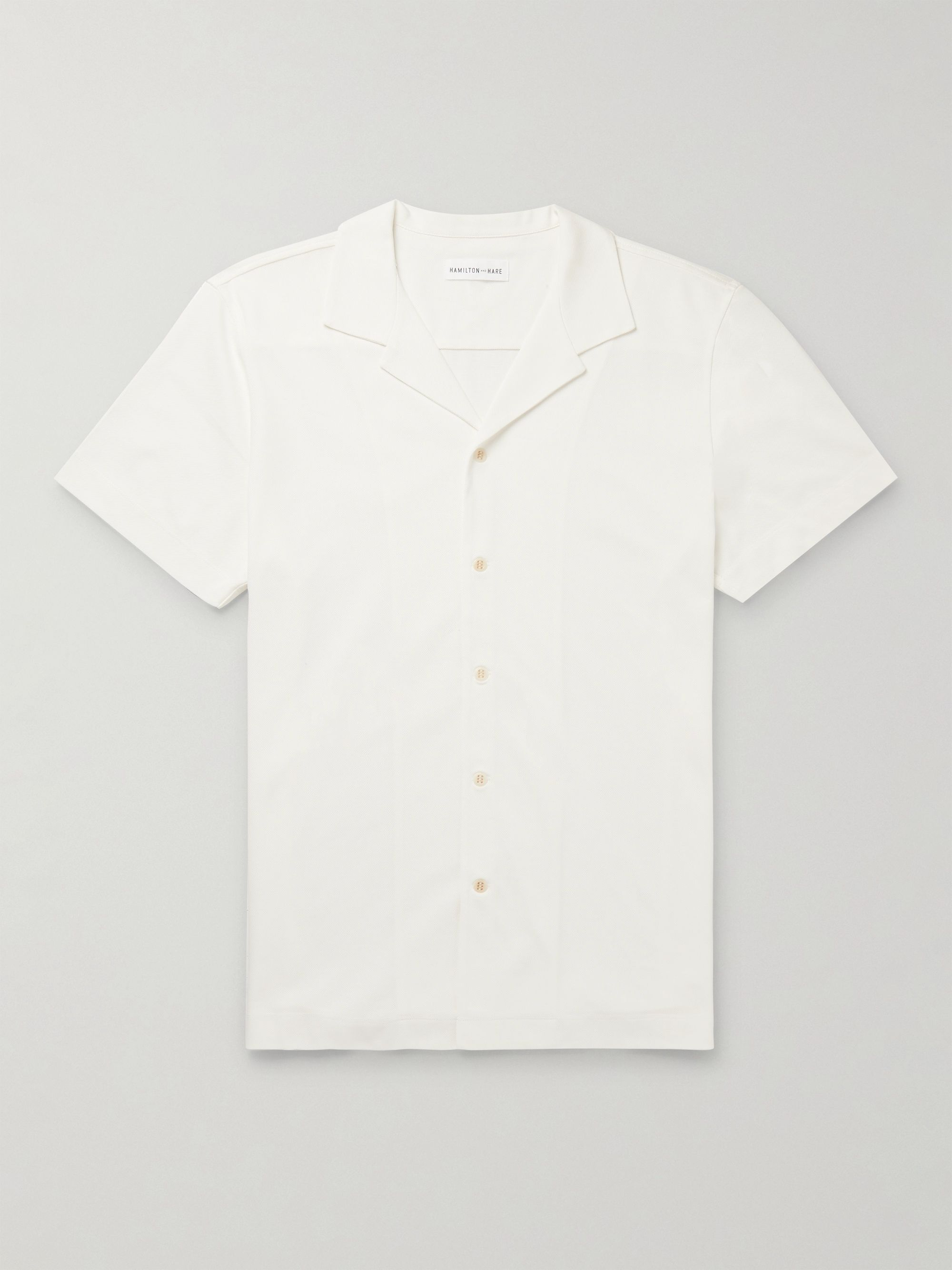 Hamilton and Hare Camp-Collar Cotton-Piqué Shirt