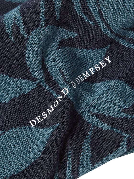 Desmond & Dempsey Byron Cotton-Blend Jacquard Socks