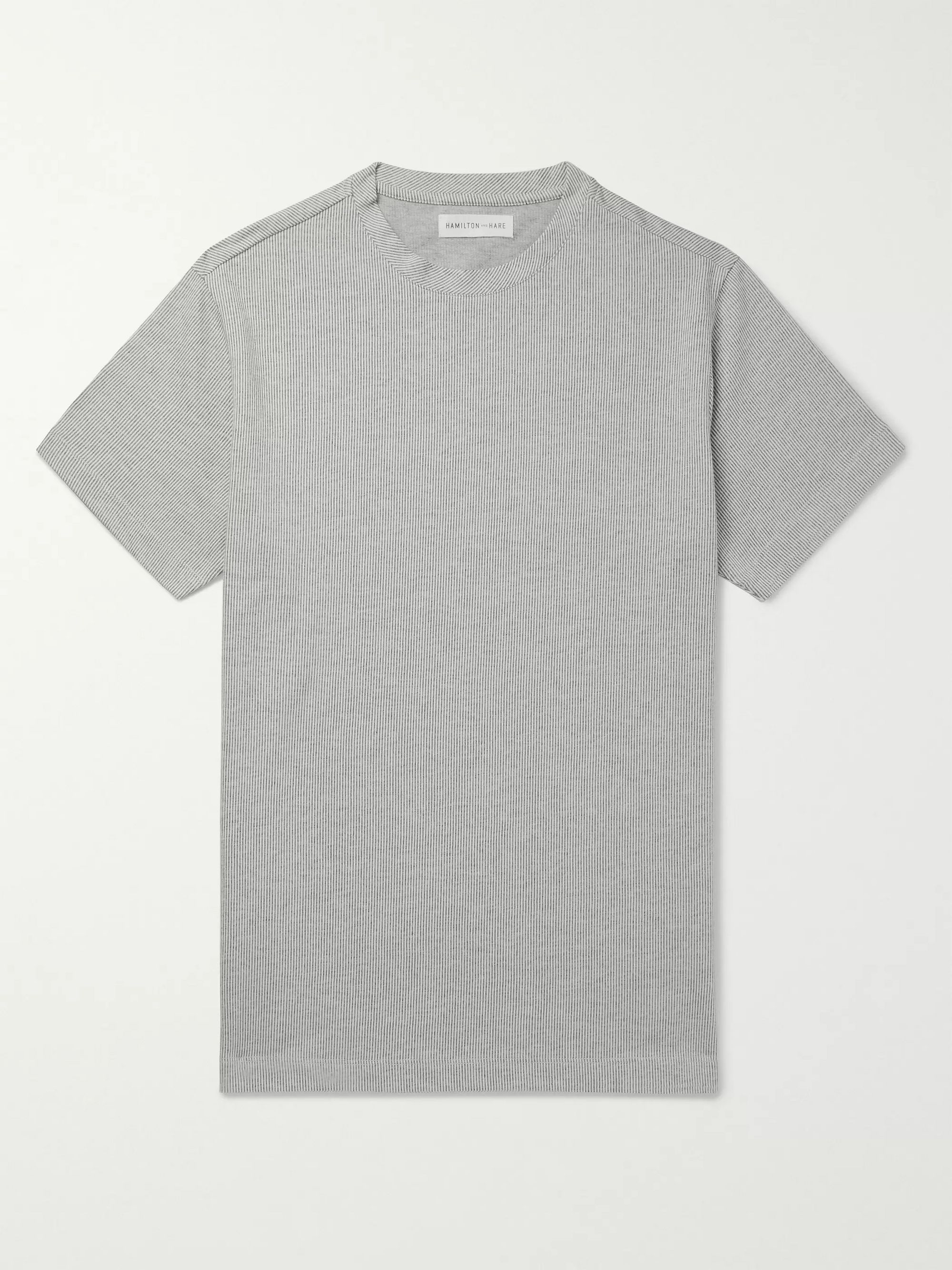 Hamilton and Hare Pinstriped Cotton-Jersey T-Shirt