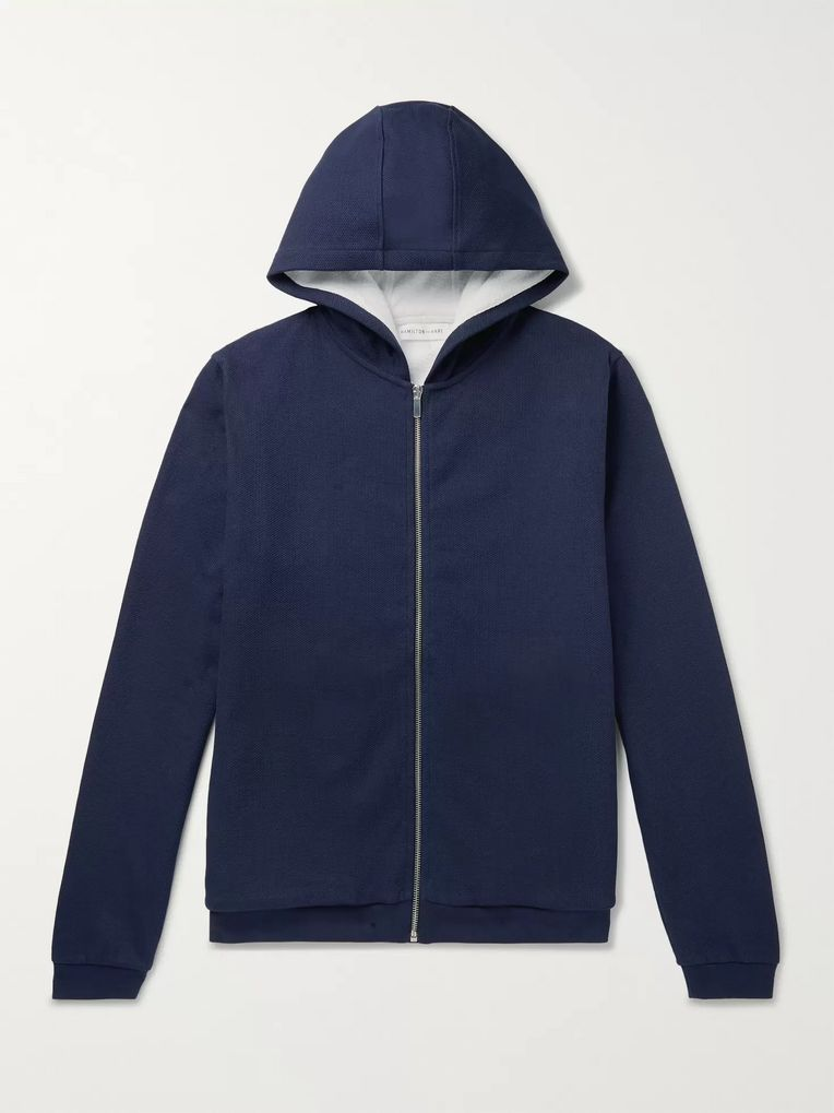 Hamilton and Hare Birdseye Cotton Zip-Up Hoodie