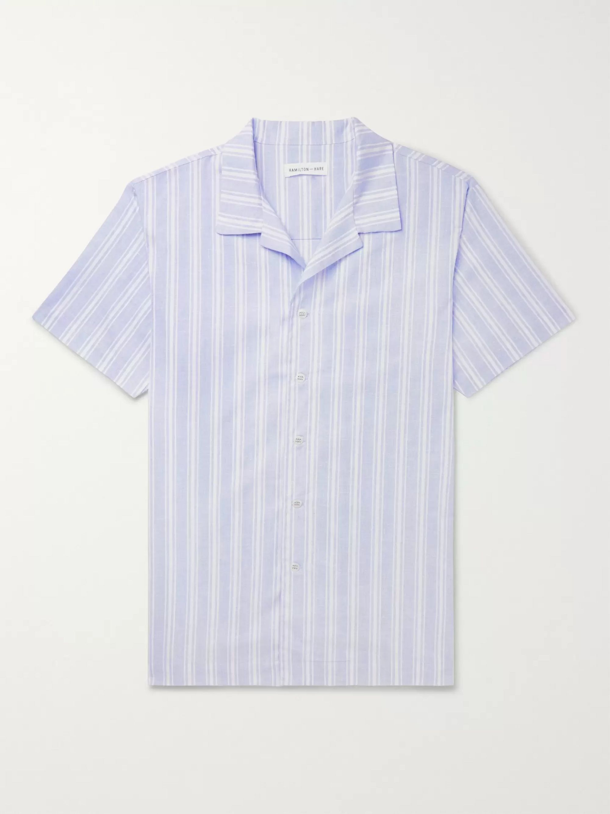 Camp Collar Striped Cotton And Linen Blend Pyjama Shirt by Hamilton And Hare