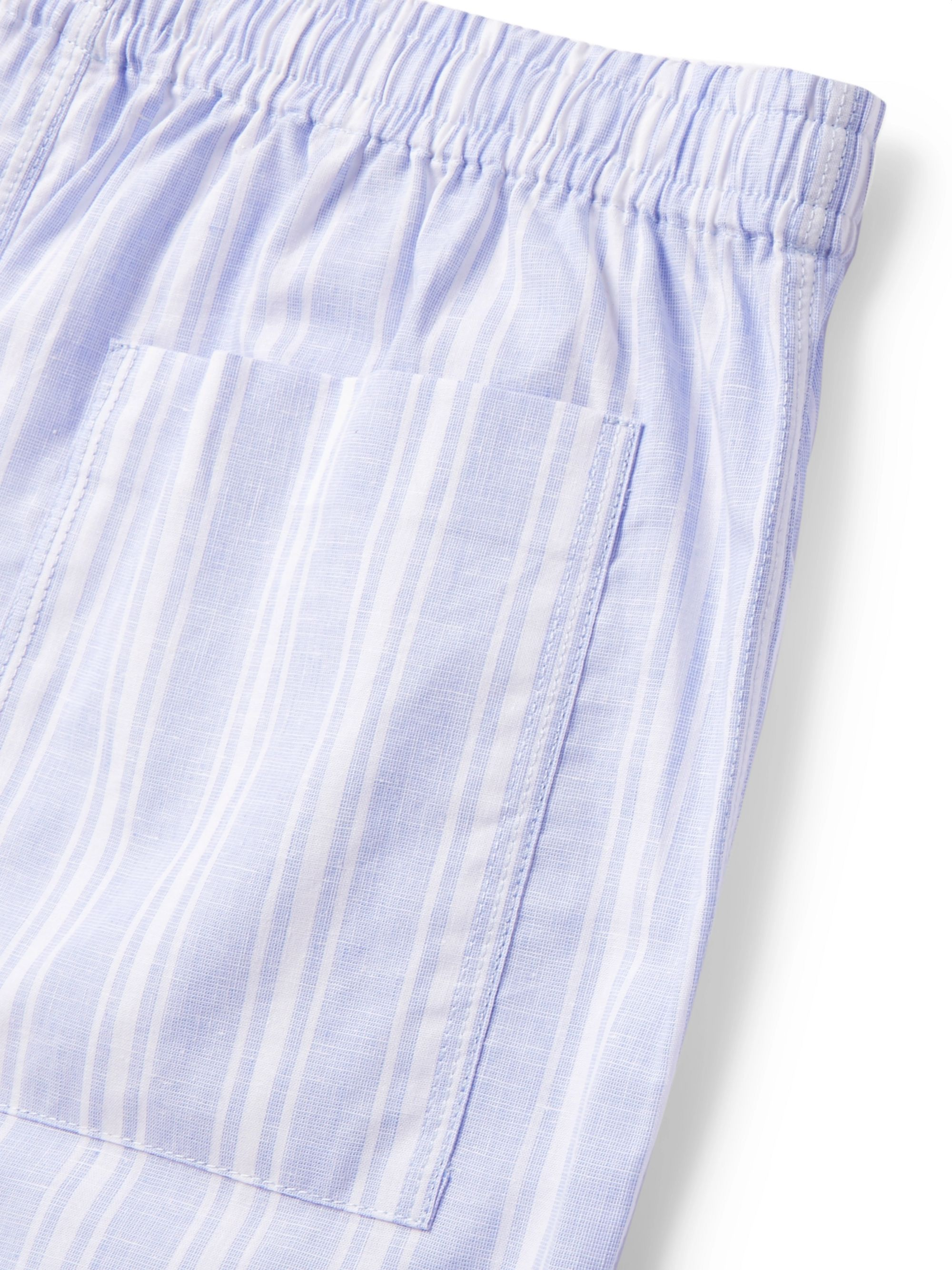 Hamilton and Hare Striped Cotton and Linen-Blend Pyjama Shorts