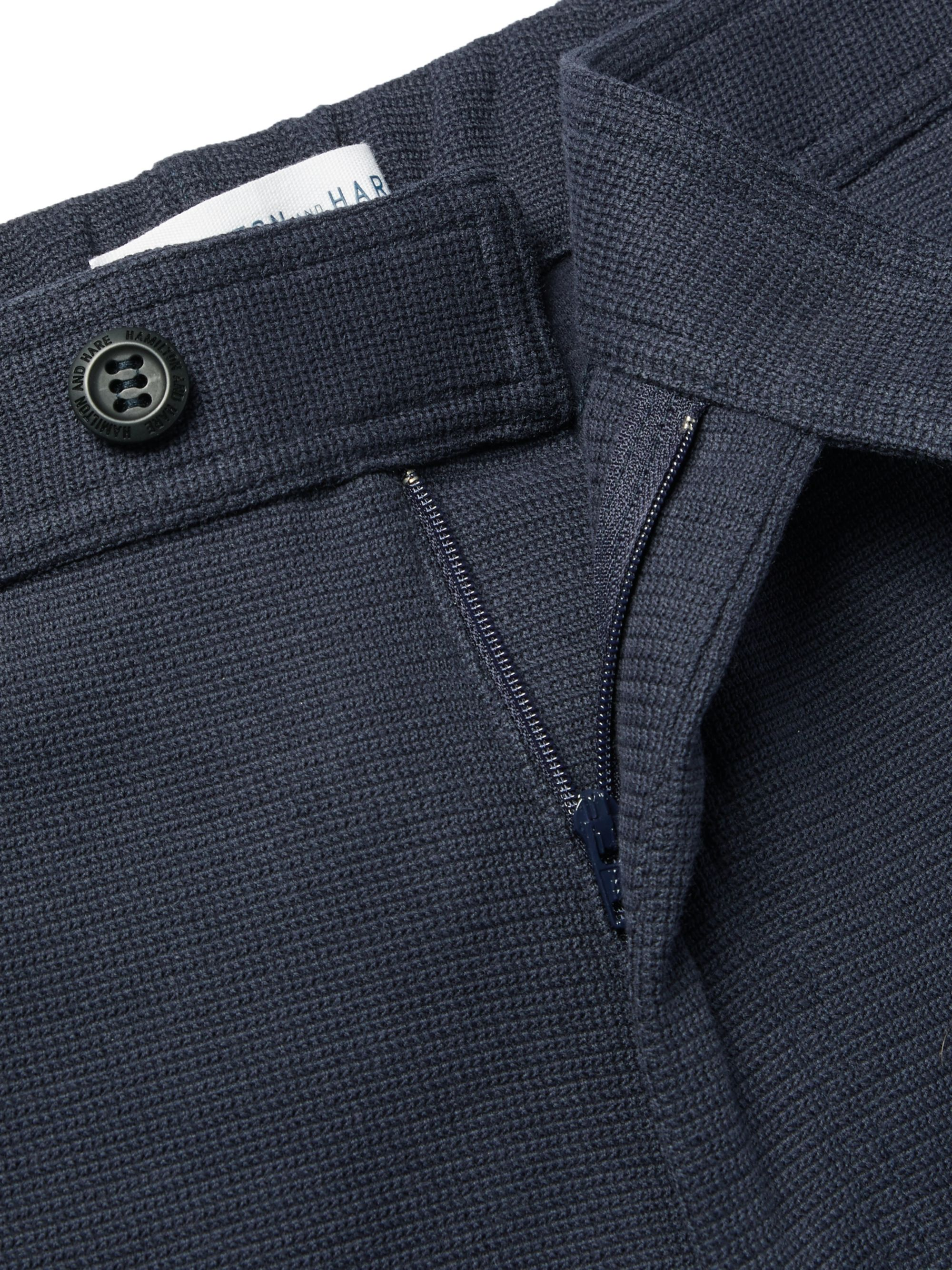 Hamilton and Hare Navy Travel Tapered Waffle-Knit Stretch-Cotton Trousers