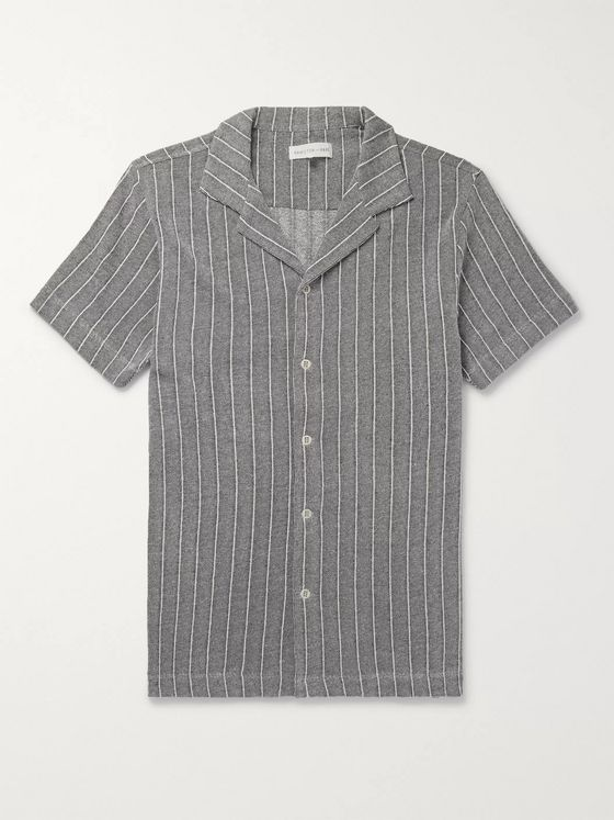 Hamilton and Hare Camp-Collar Striped Cotton-Jersey Shirt