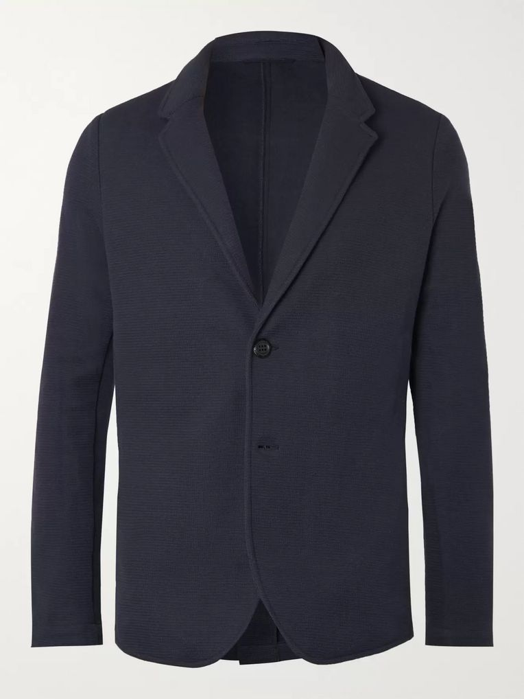 Hamilton and Hare Navy Travel Cotton-Blend Jersey Blazer