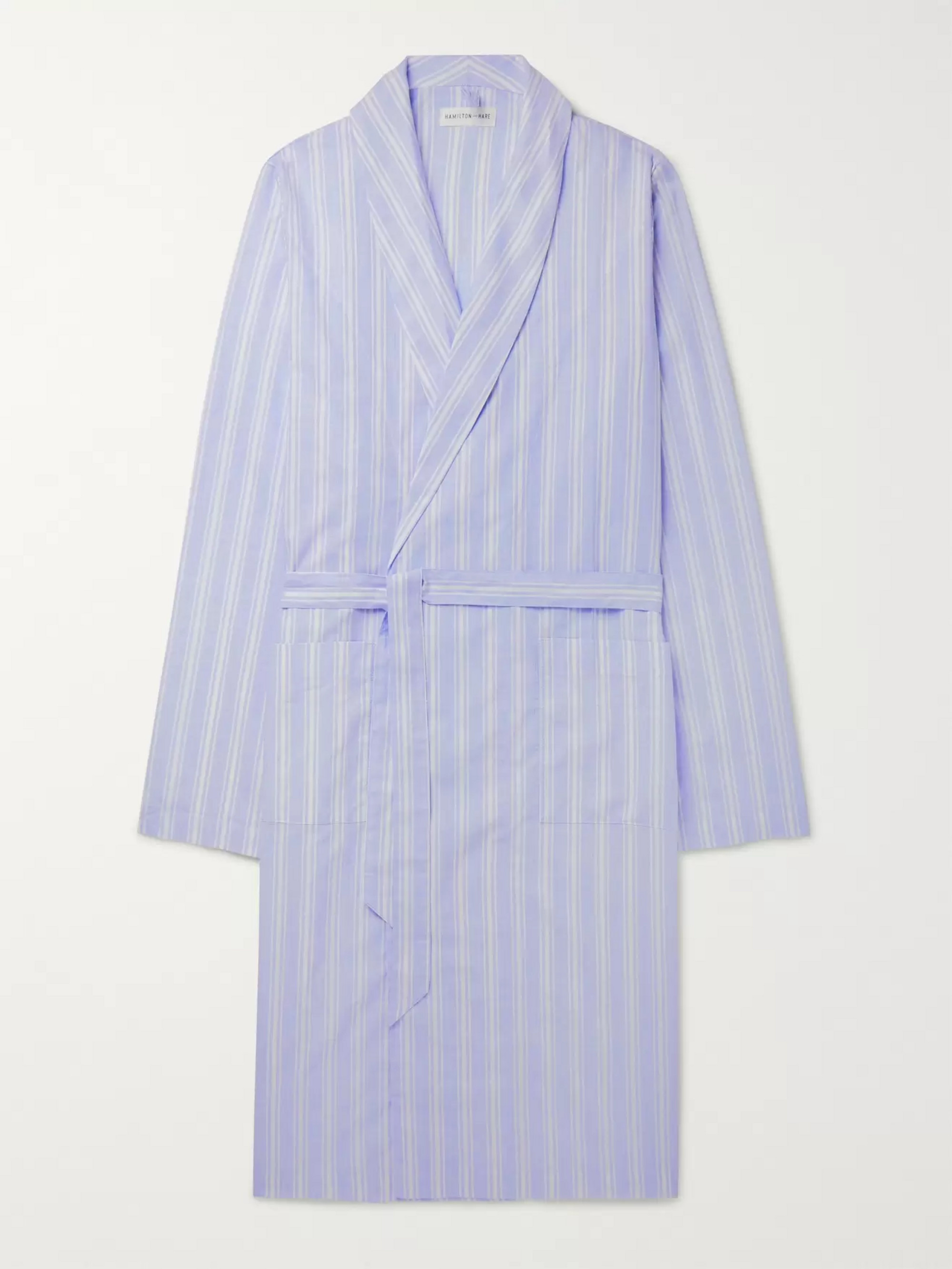 Hamilton and Hare Striped Cotton and Linen-Blend Robe