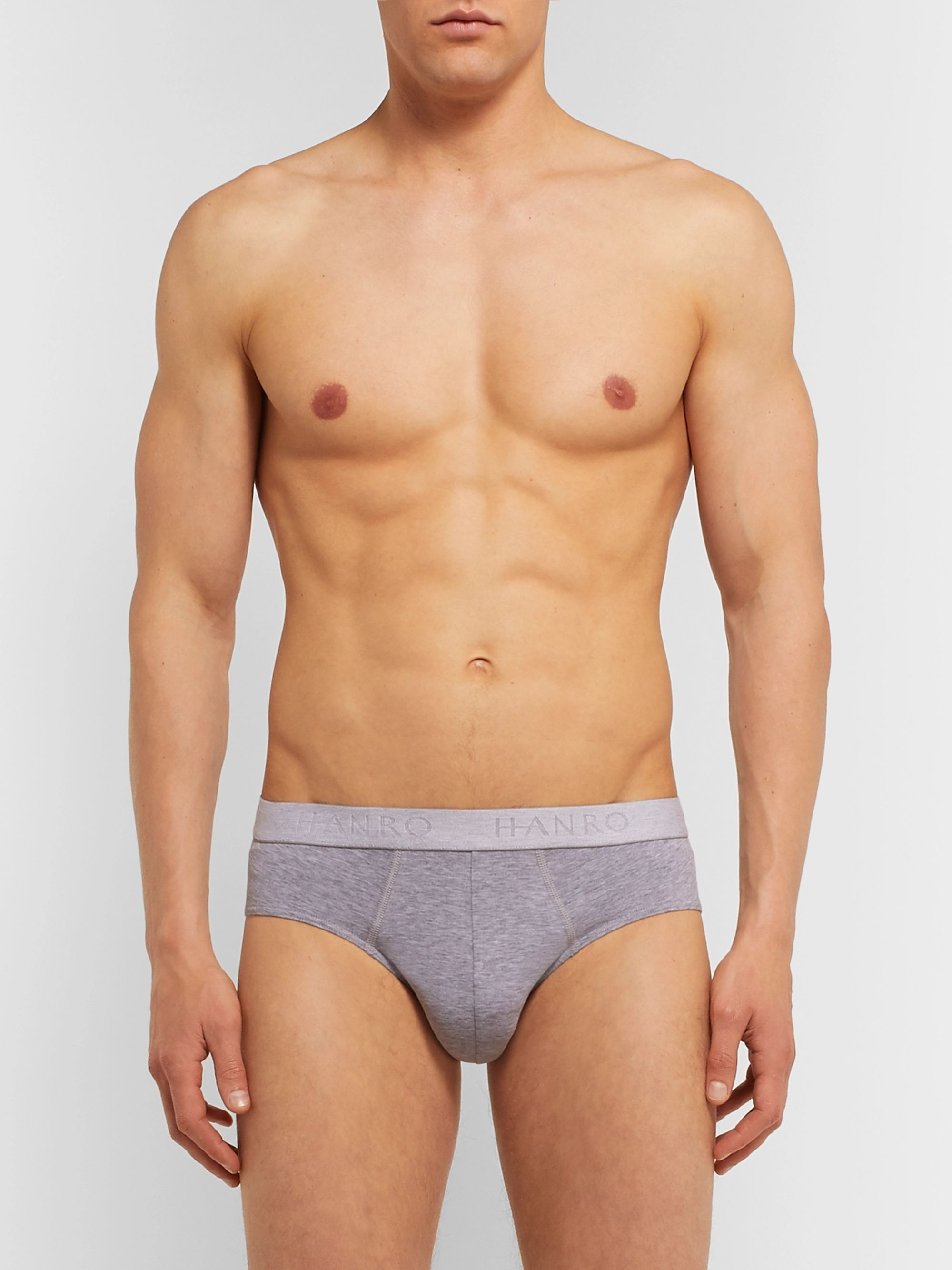 Hanro Two-Pack Mélange Stretch-Cotton Briefs