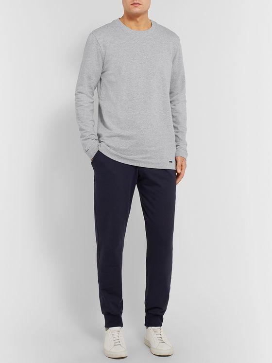 Hanro Mélange Loopback Stretch-Cotton Jersey Sweatshirt
