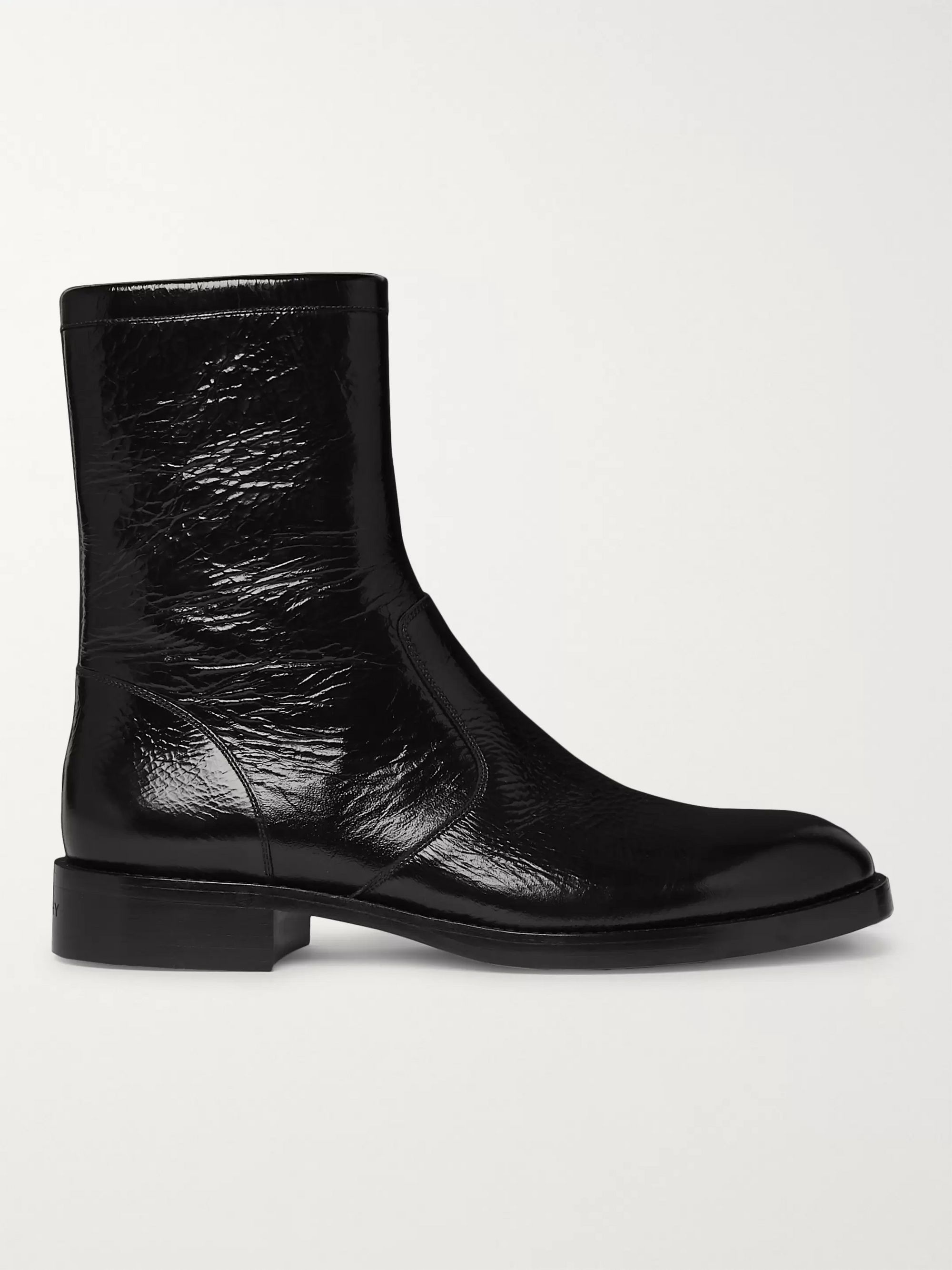 Givenchy Cruz Cracked Patent-Leather Boots