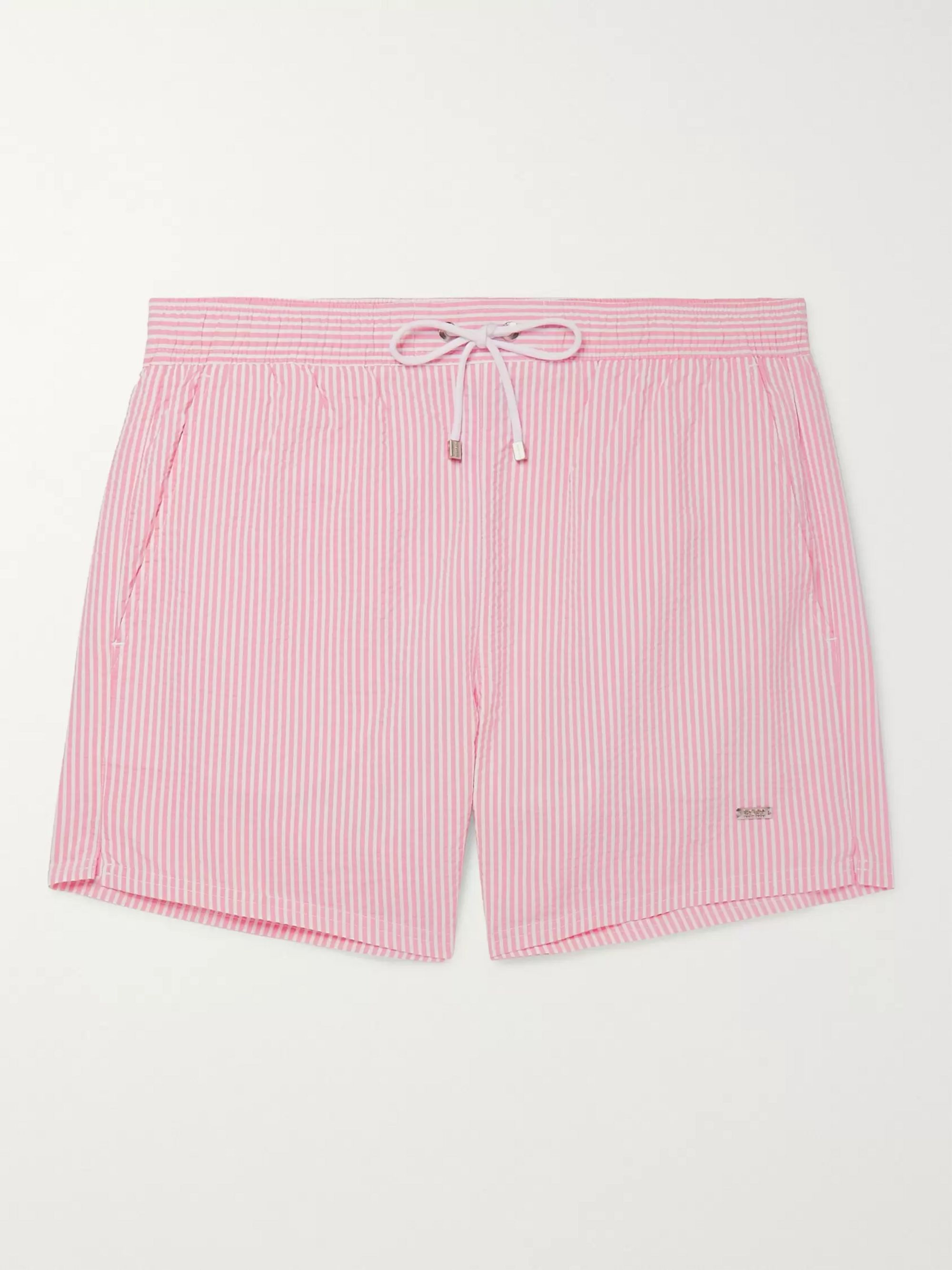 Hugo Boss Mid-Length Striped Seersucker Swim Shorts