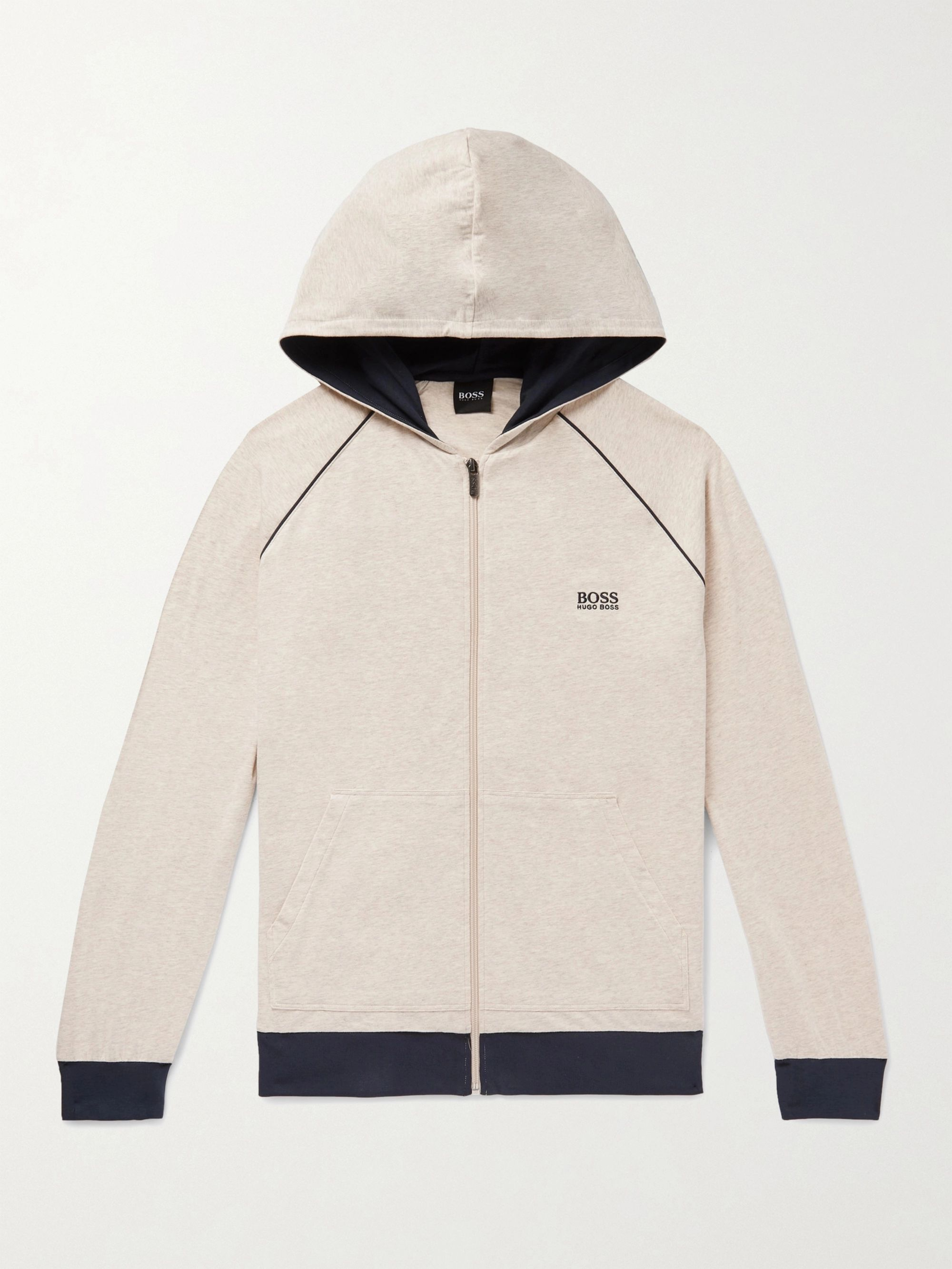 Hugo Boss Mélange Stretch-Cotton Jersey Zip-Up Hoodie