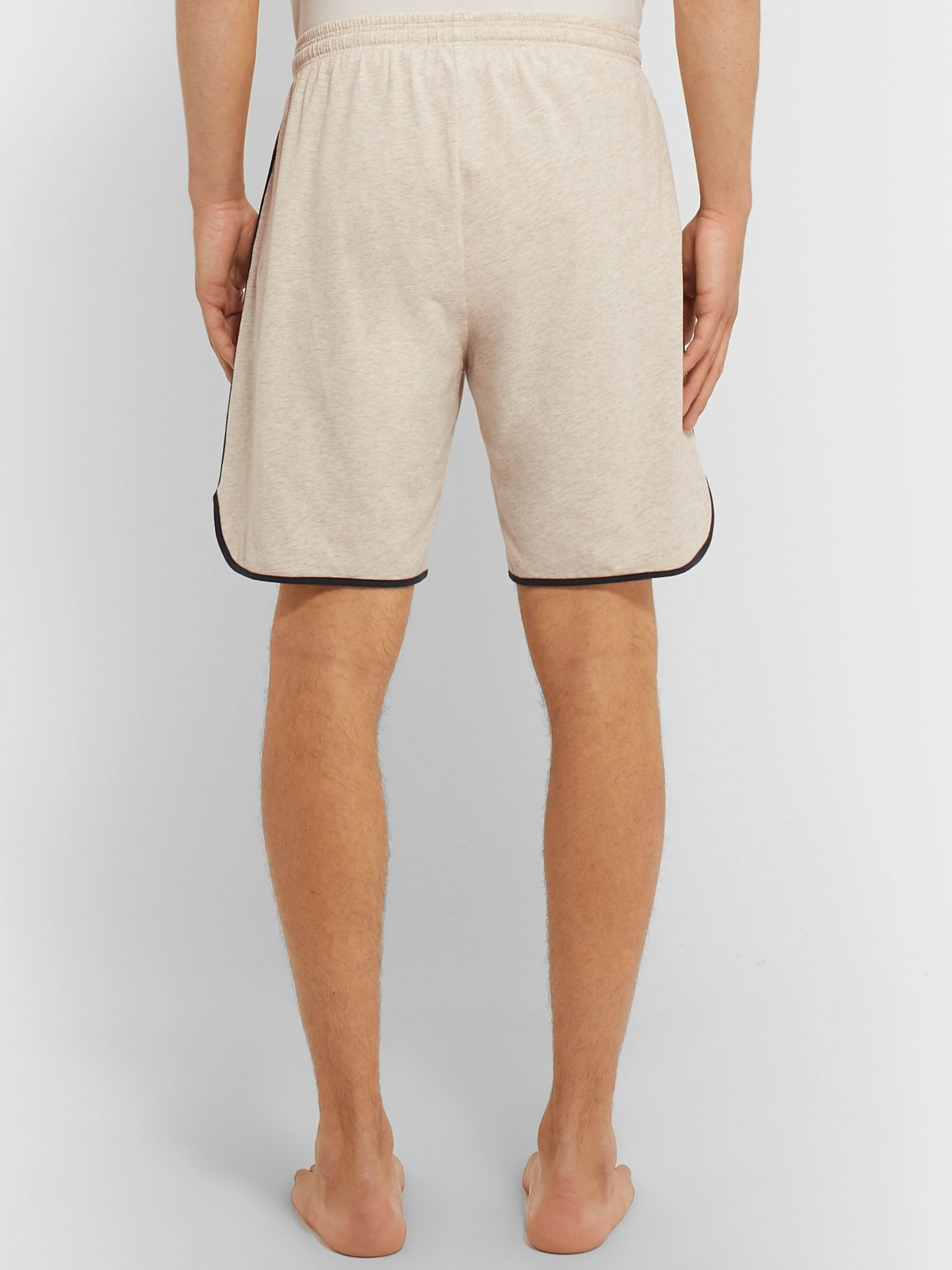 Hugo Boss Piped Mélange Stretch-Cotton Jersey Drawstring Shorts