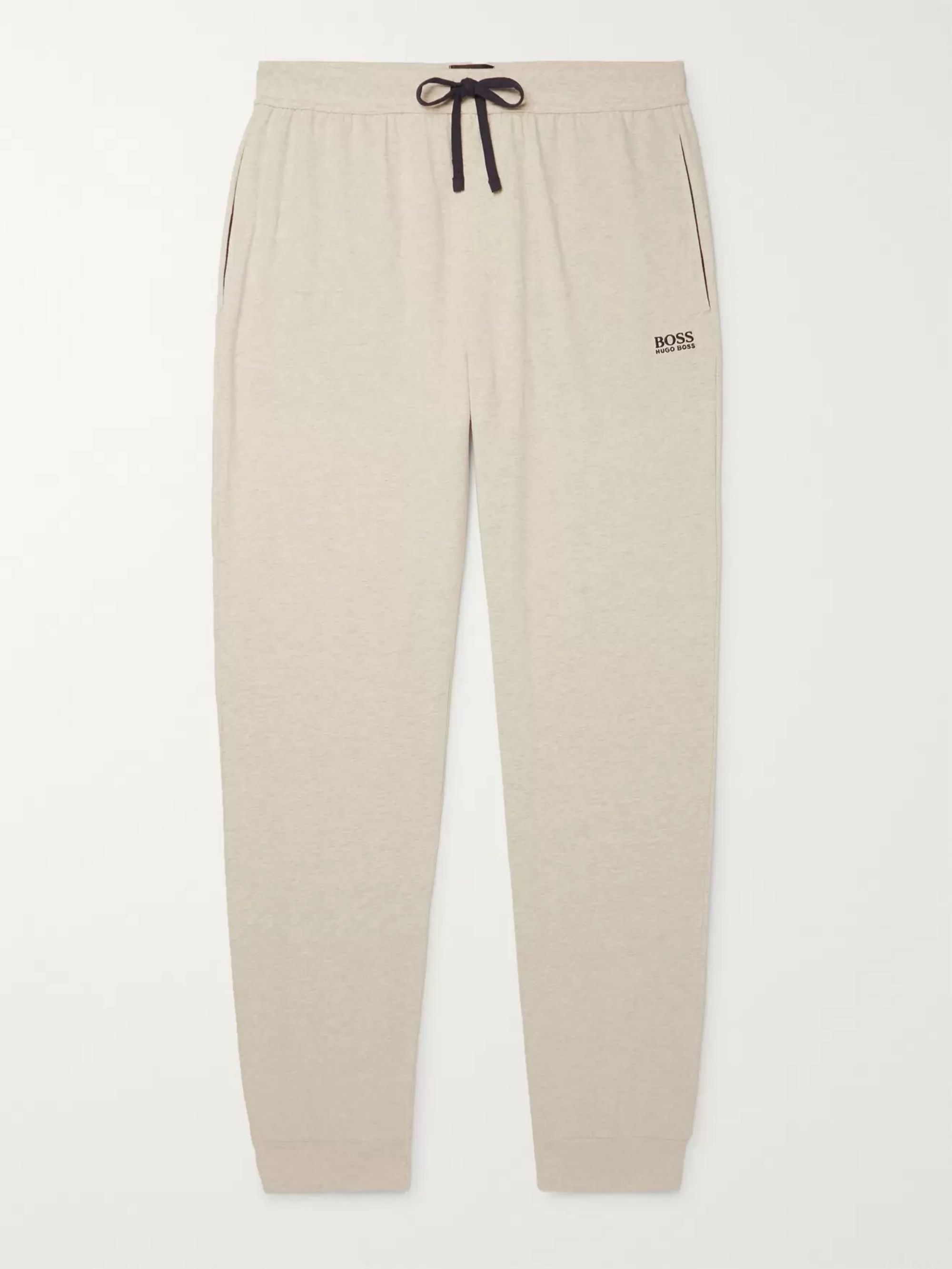 Hugo Boss Slim-Fit Tapered Mélange Stretch-Cotton Jersey Sweatpants