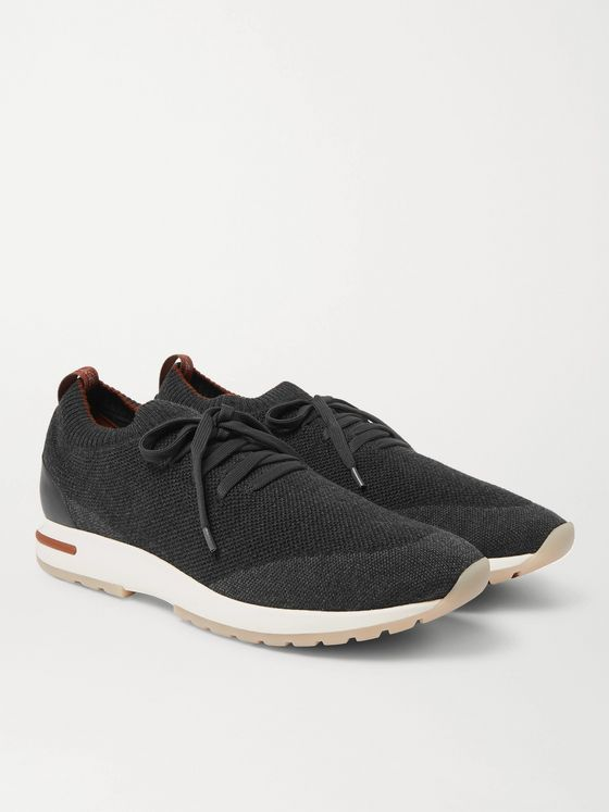 LORO PIANA 360 Flexy Walk Leather-Trimmed Knitted Wish Wool Sneakers