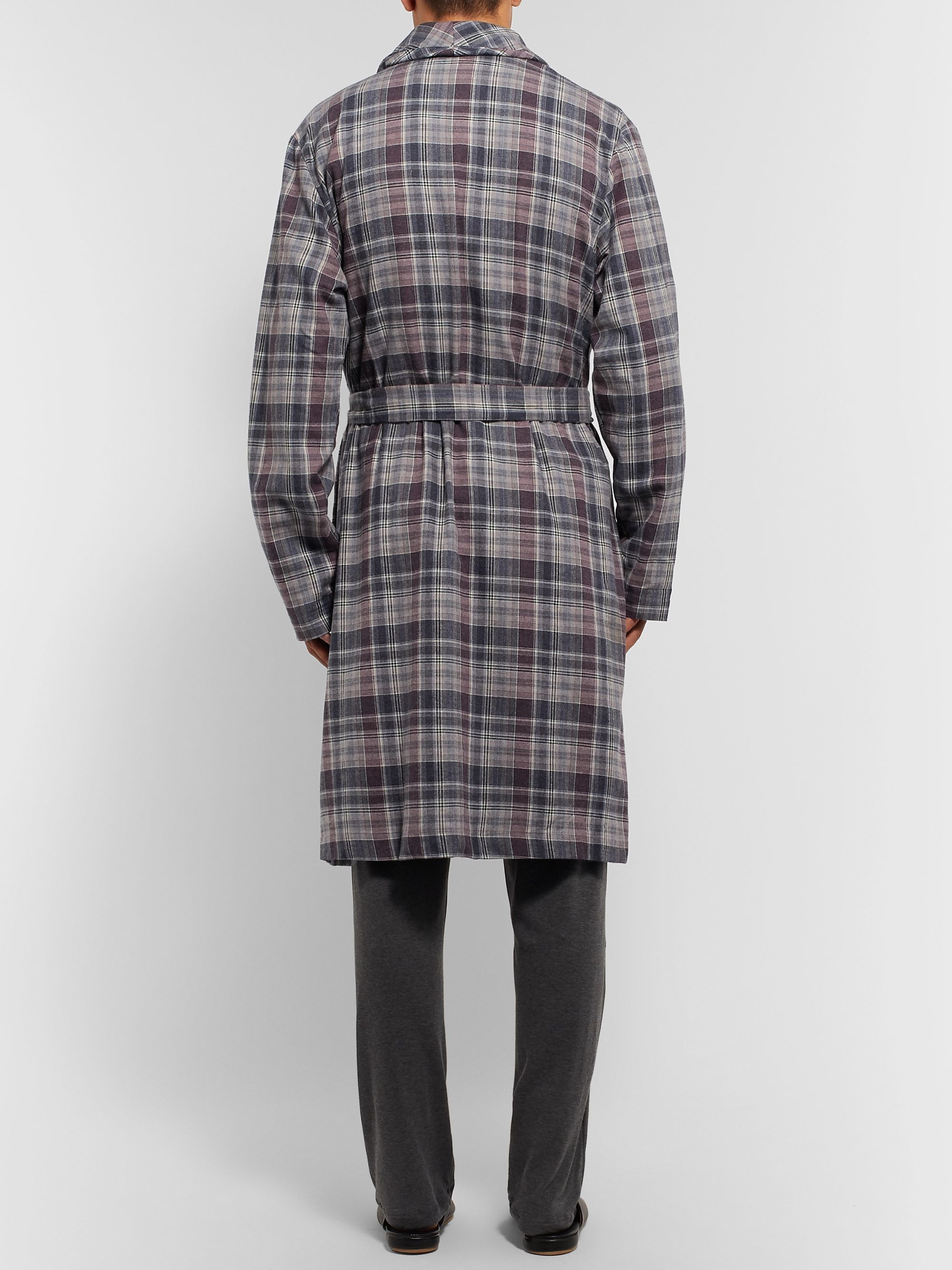 Hanro Belted Checked Cotton Robe