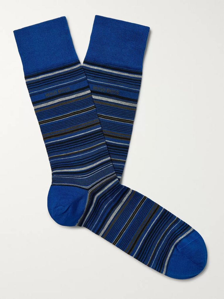 Hugo Boss Striped Mercerised Stretch Cotton-Blend Socks