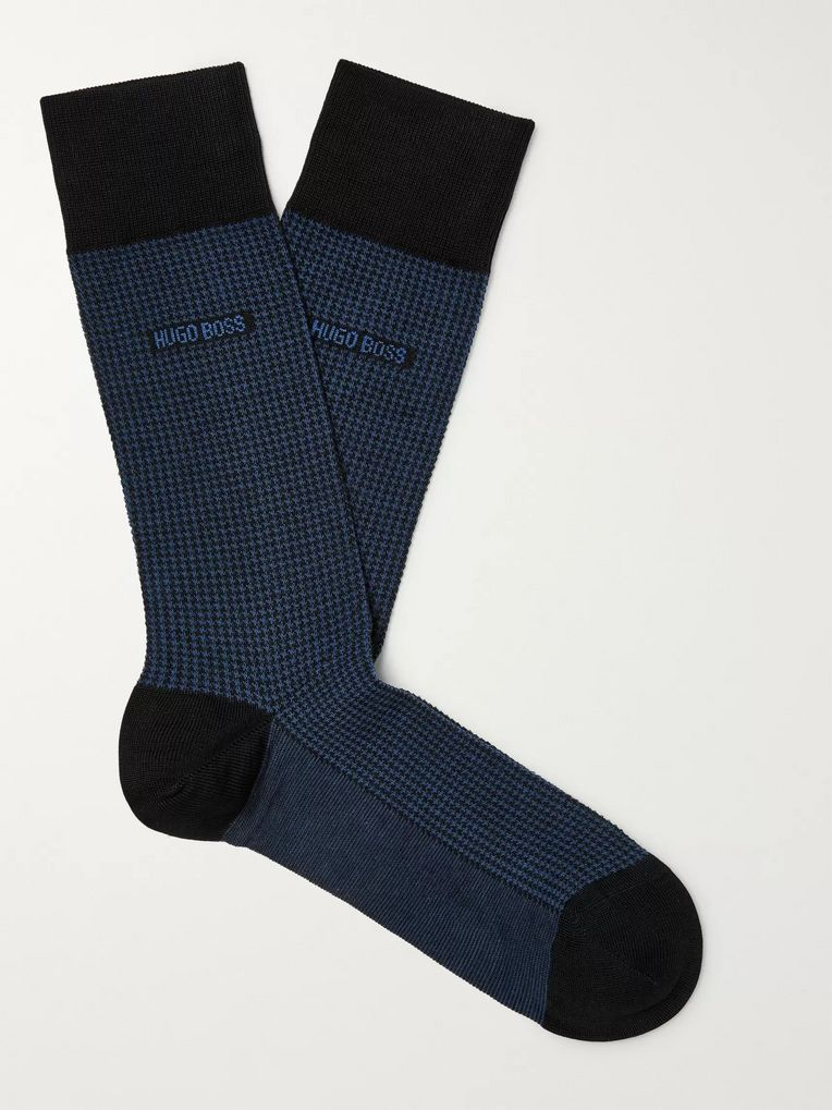 Hugo Boss Puppytooth Mercerised Stretch-Cotton Socks