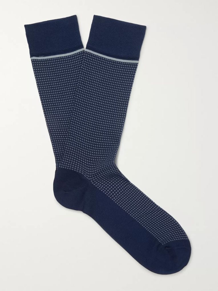 Marcoliani Micro-Checked Pima Cotton-Blend Socks
