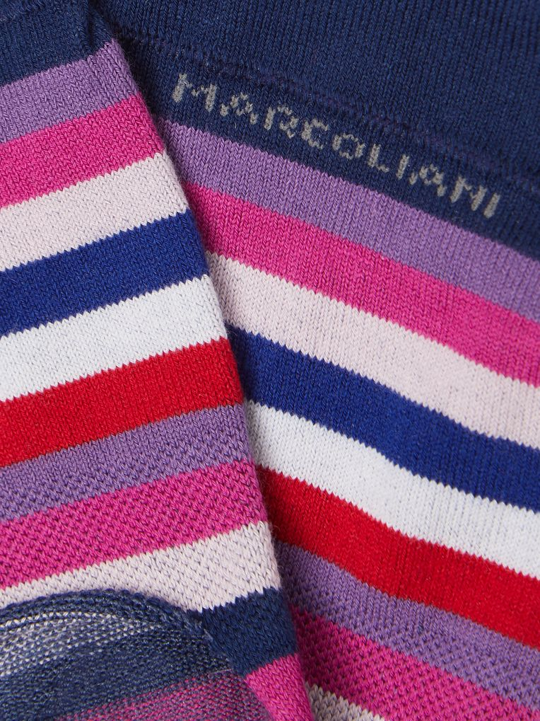 Marcoliani Invisible Touch Striped Stretch Pima Cotton-Blend No-Show Socks