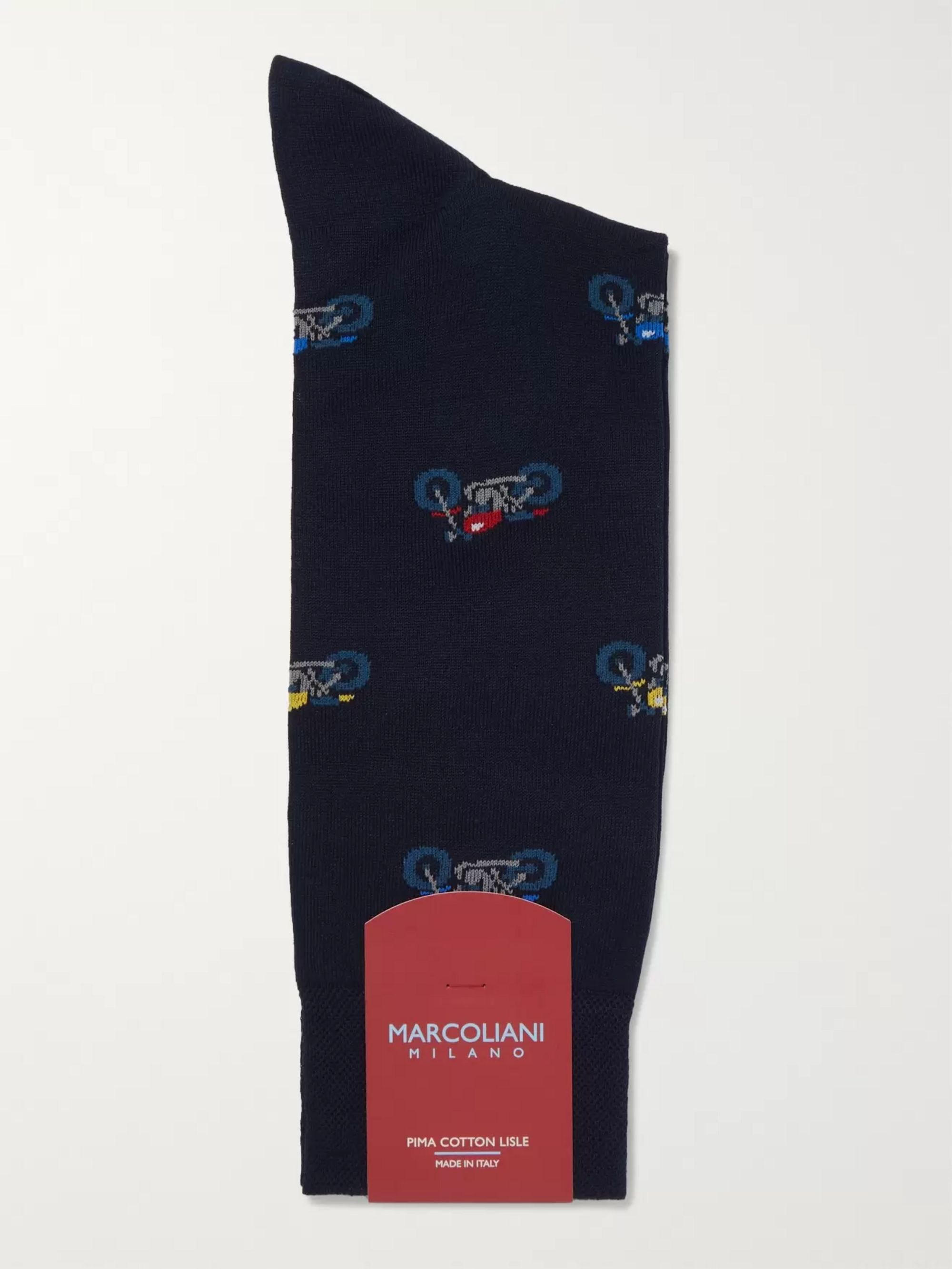 Marcoliani Pima Cotton-Blend Jacquard Socks