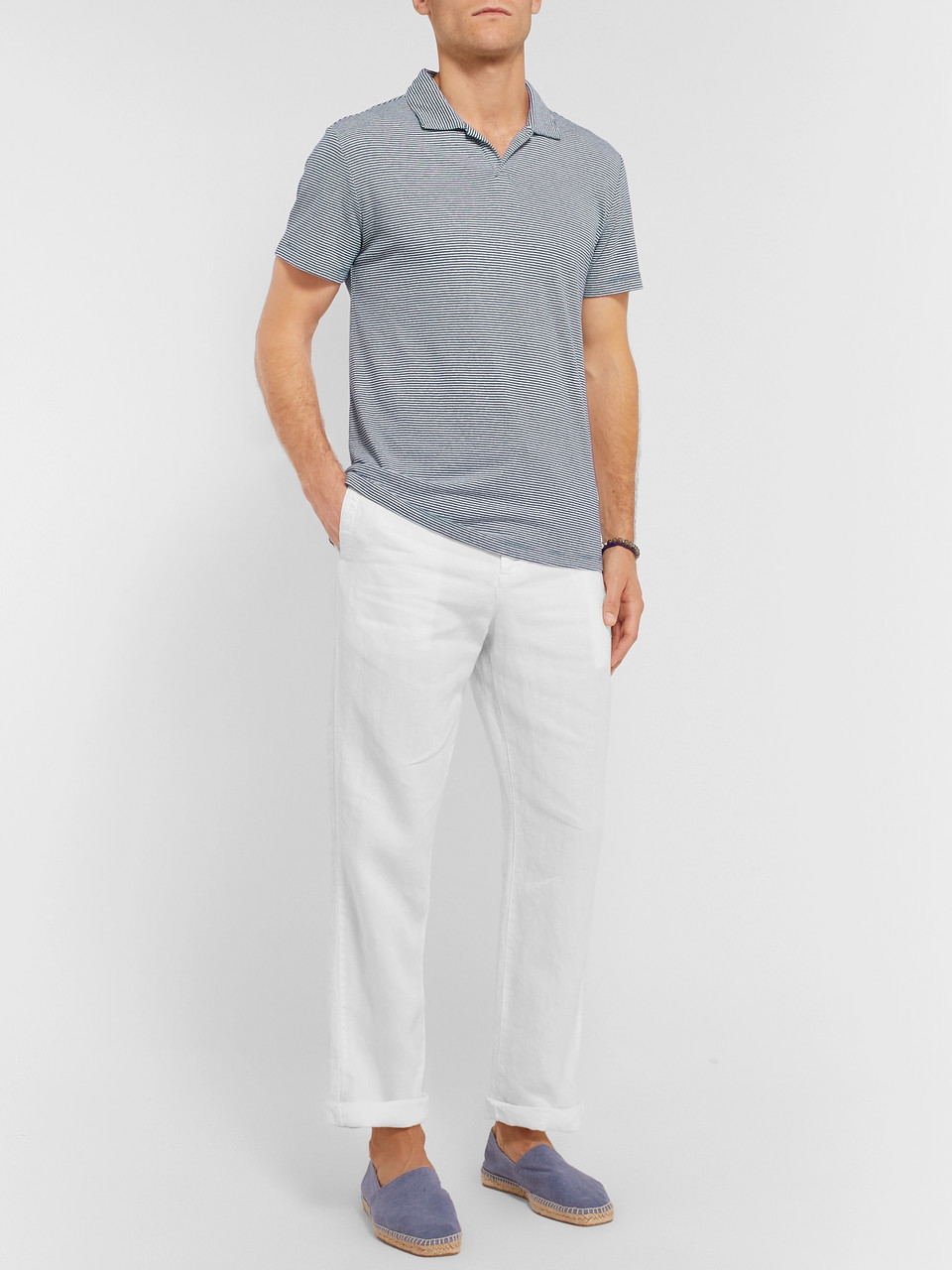 Onia Striped Linen-Blend Polo Shirt