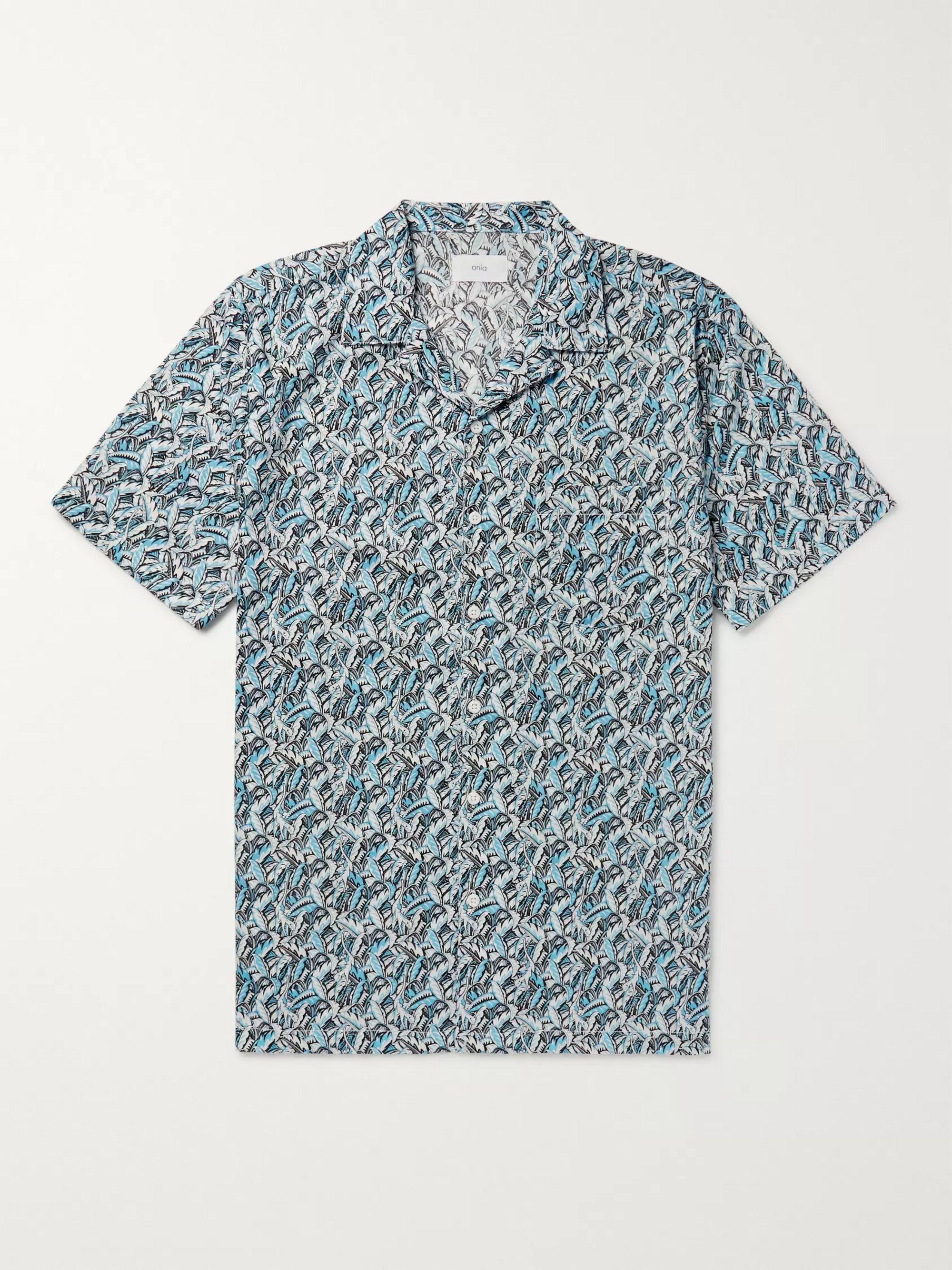 MEN/'S SHIRT SLIM FIT LIBERTY FLORAL VINTAGE PRINTED COTTON LONG SLEEVE GREY BLUE