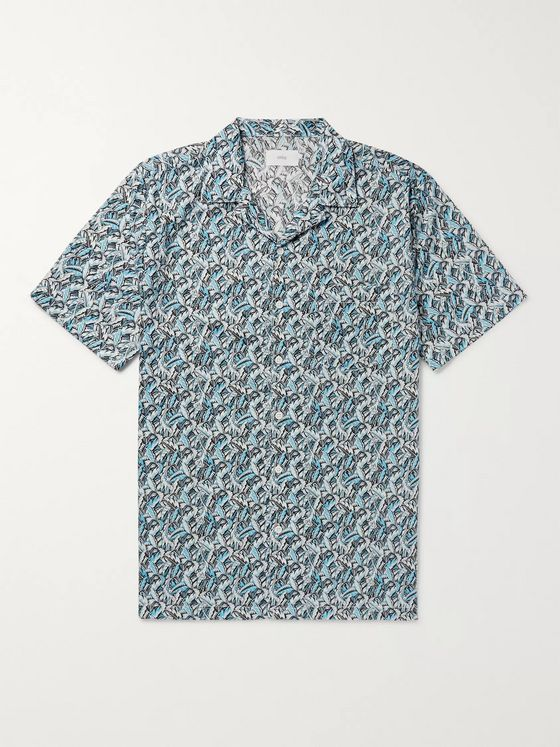 Onia + Liberty London Vacation Camp-Collar Printed Cotton-Poplin Shirt