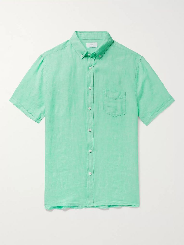 Onia Jack Button-Down Collar Slub Linen Shirt