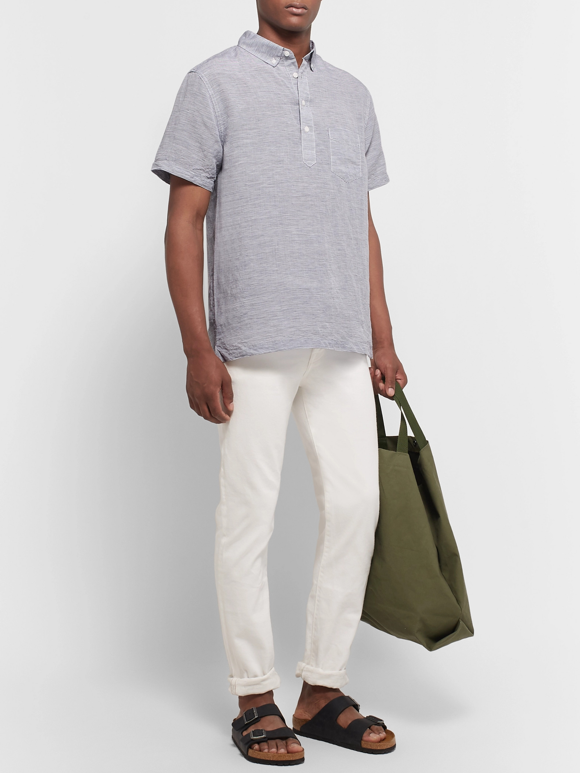 Onia Button-Down Collar Striped Linen and Tencel-Blend Shirt