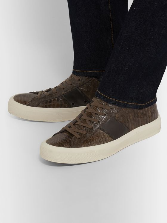 TOM FORD Cambridge Leather-Trimmed Lizard Sneakers