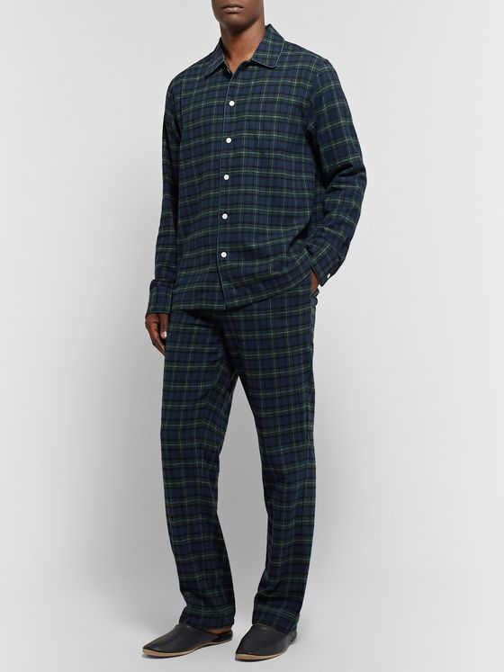 Sleepy Jones Henry Checked Cotton-Flannel Pyjama Set