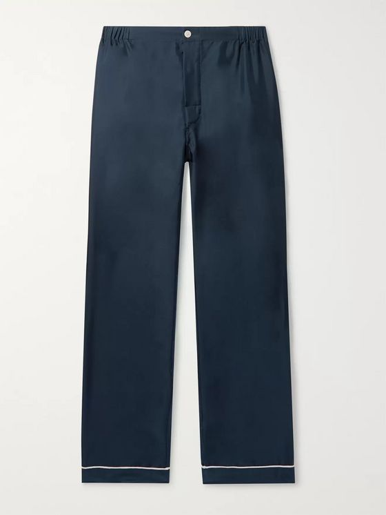Sleepy Jones Marcel Piped Silk-Twill Pyjama Trousers