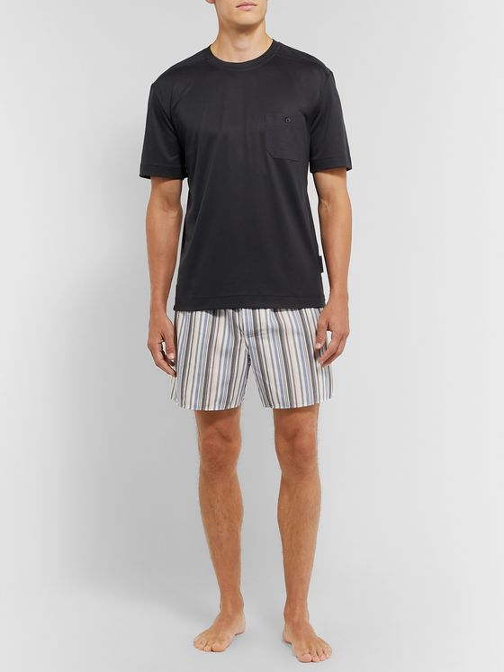 Zimmerli Striped Lyocell and Cotton-Blend Pyjama Shorts