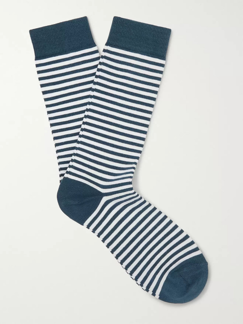 Sunspel Striped Stretch Cotton-Blend Socks