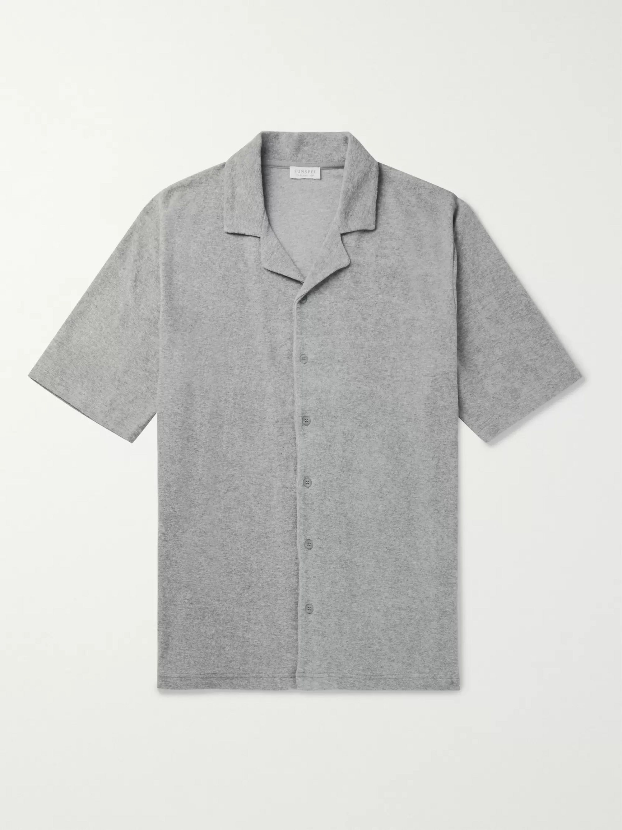 Sunspel Camp-Collar Mélange Cotton-Terry Shirt