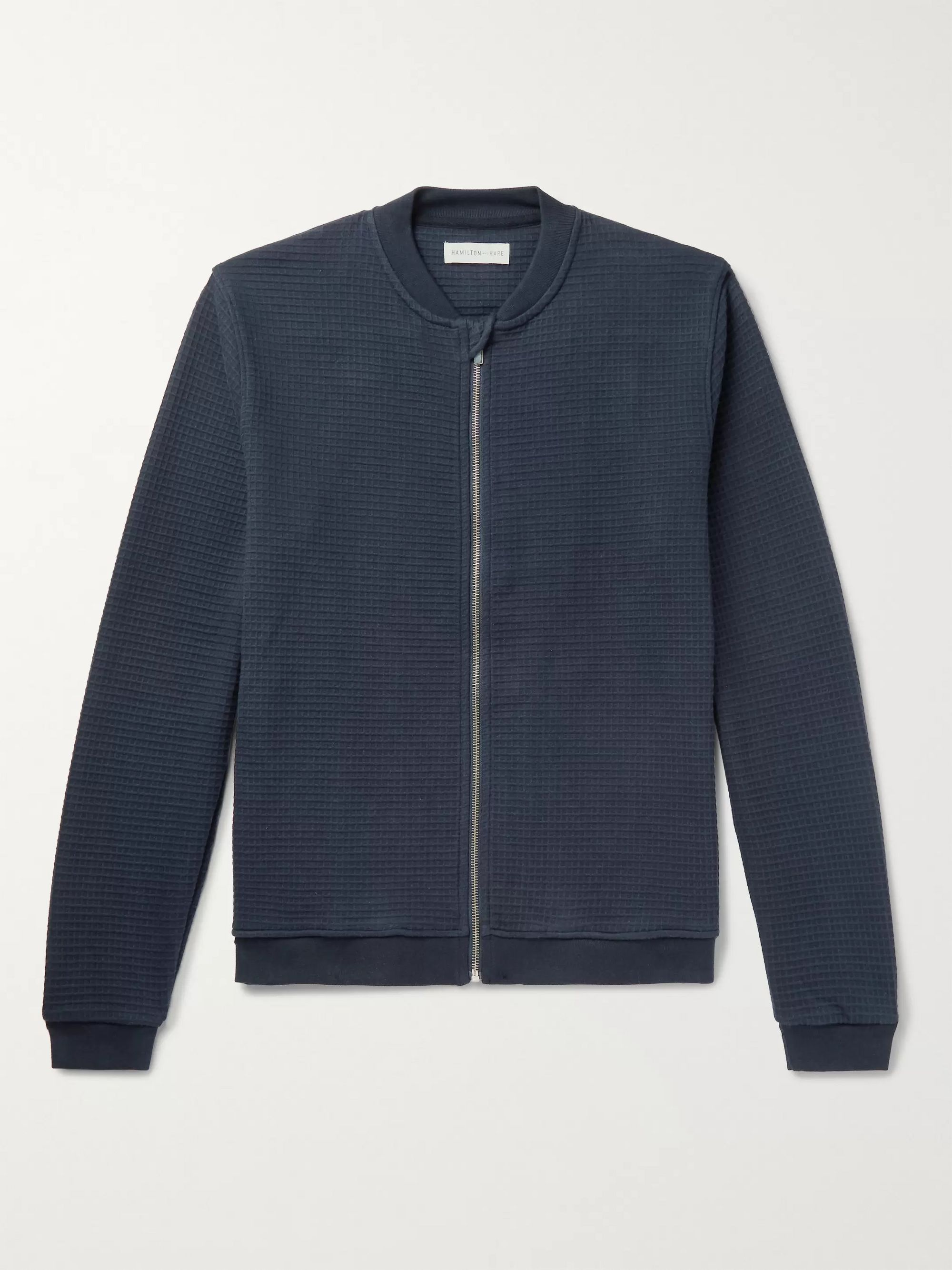 Hamilton and Hare Waffle-Knit Cotton Bomber Jacket