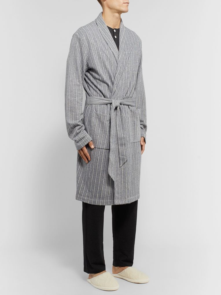 Hamilton and Hare Striped Cotton Robe