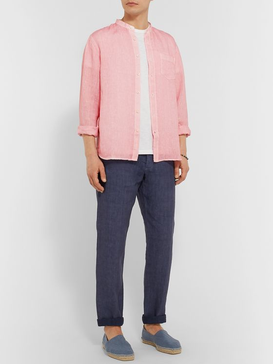 120% Grandad-Collar Garment-Dyed Linen Shirt