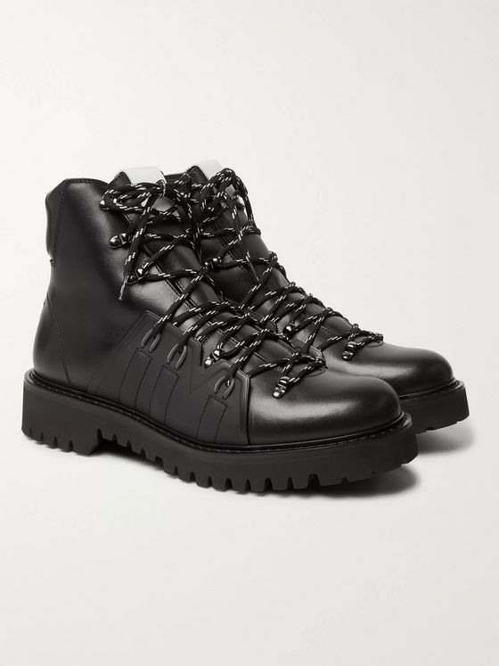 Valentino Valentino Garavani Urgan Shearling-Lined Rubber-Trimmed Leather Boots