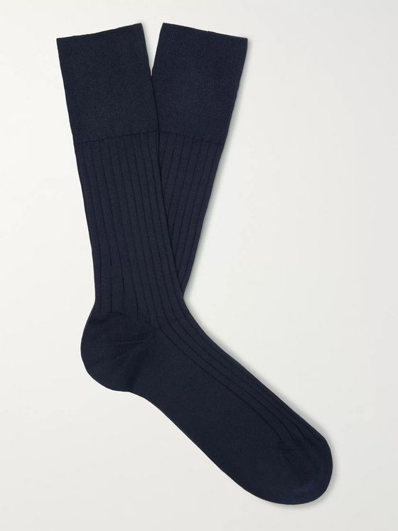 Marcoliani Three-Pack Ribbed Pima Cotton-Blend Socks