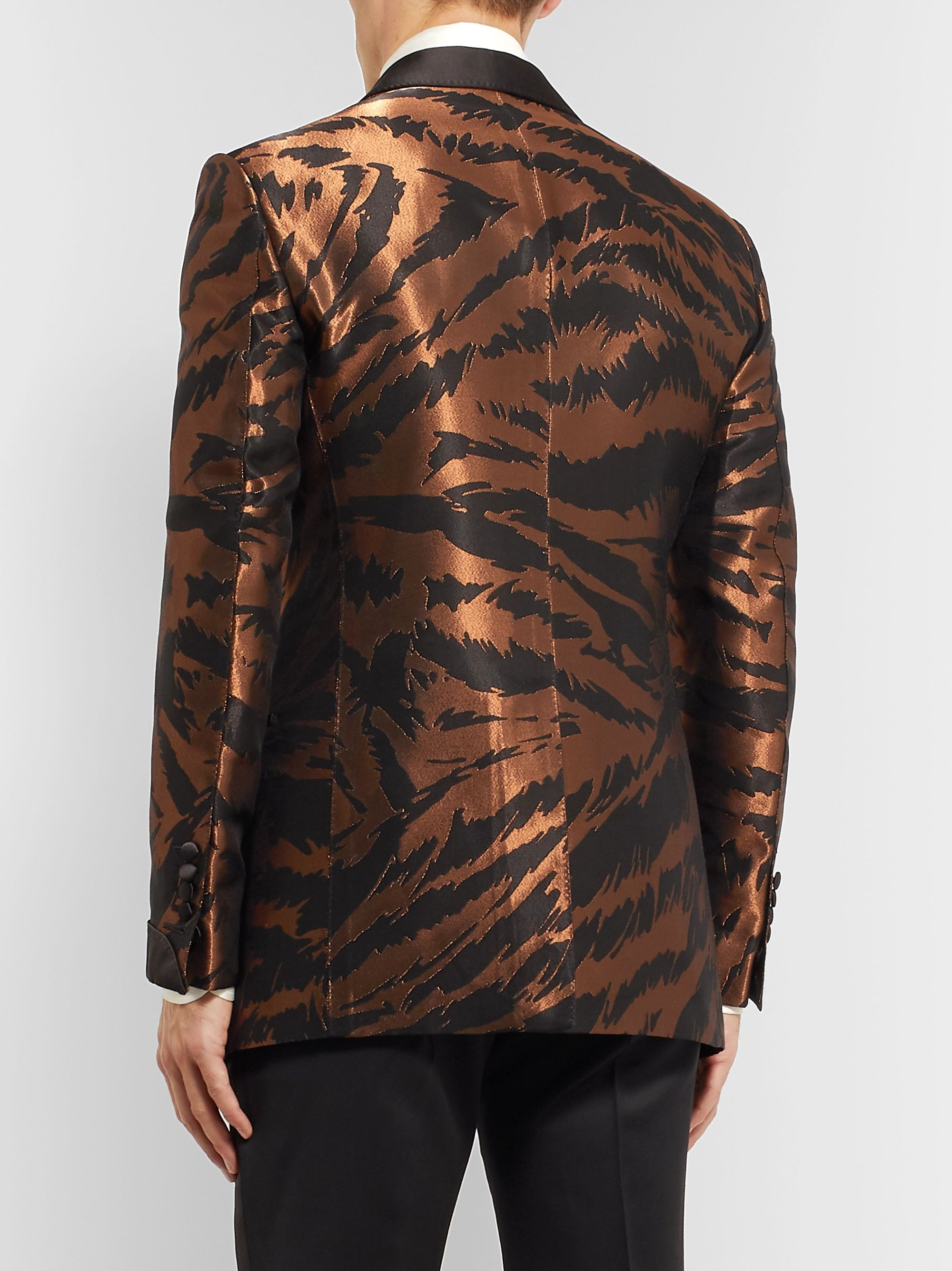 TOM FORD Copper Slim-Fit Satin-Trimmed Zebra-Jacquard Tuxedo Jacket