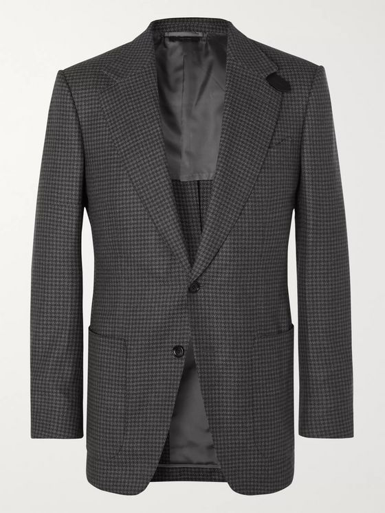 TOM FORD Grey Atticus Slim-Fit Unstructured Houndstooth Wool Blazer