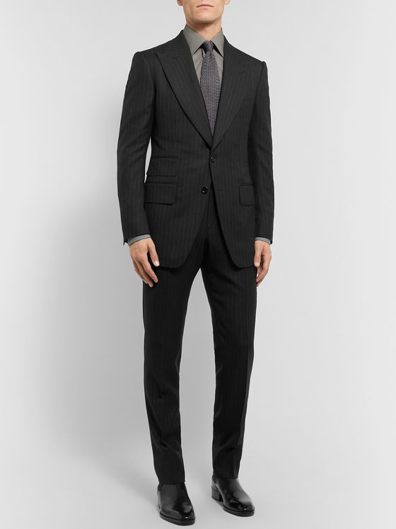 TOM FORD Grey Atticus Slim-Fit Pinstriped Wool and Silk-Blend Suit