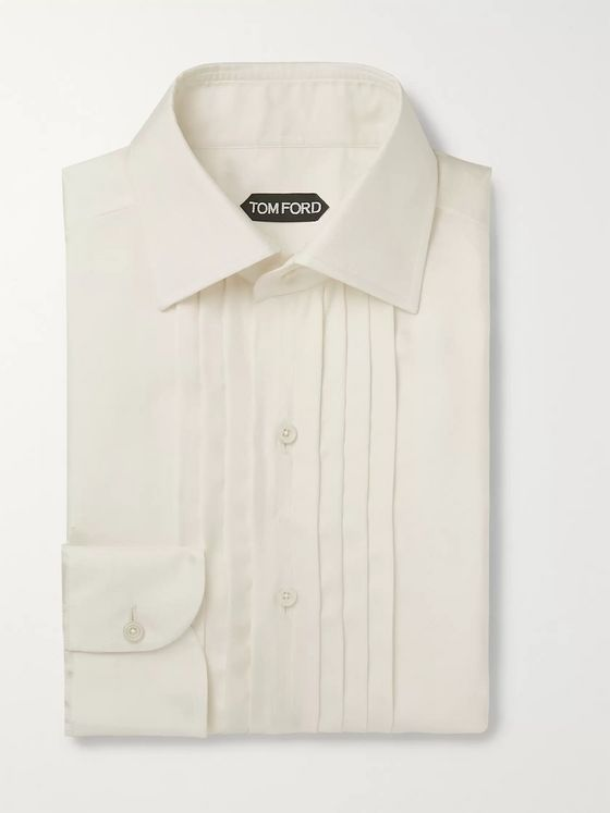 TOM FORD Ivory Bib-Font Twill Shirt