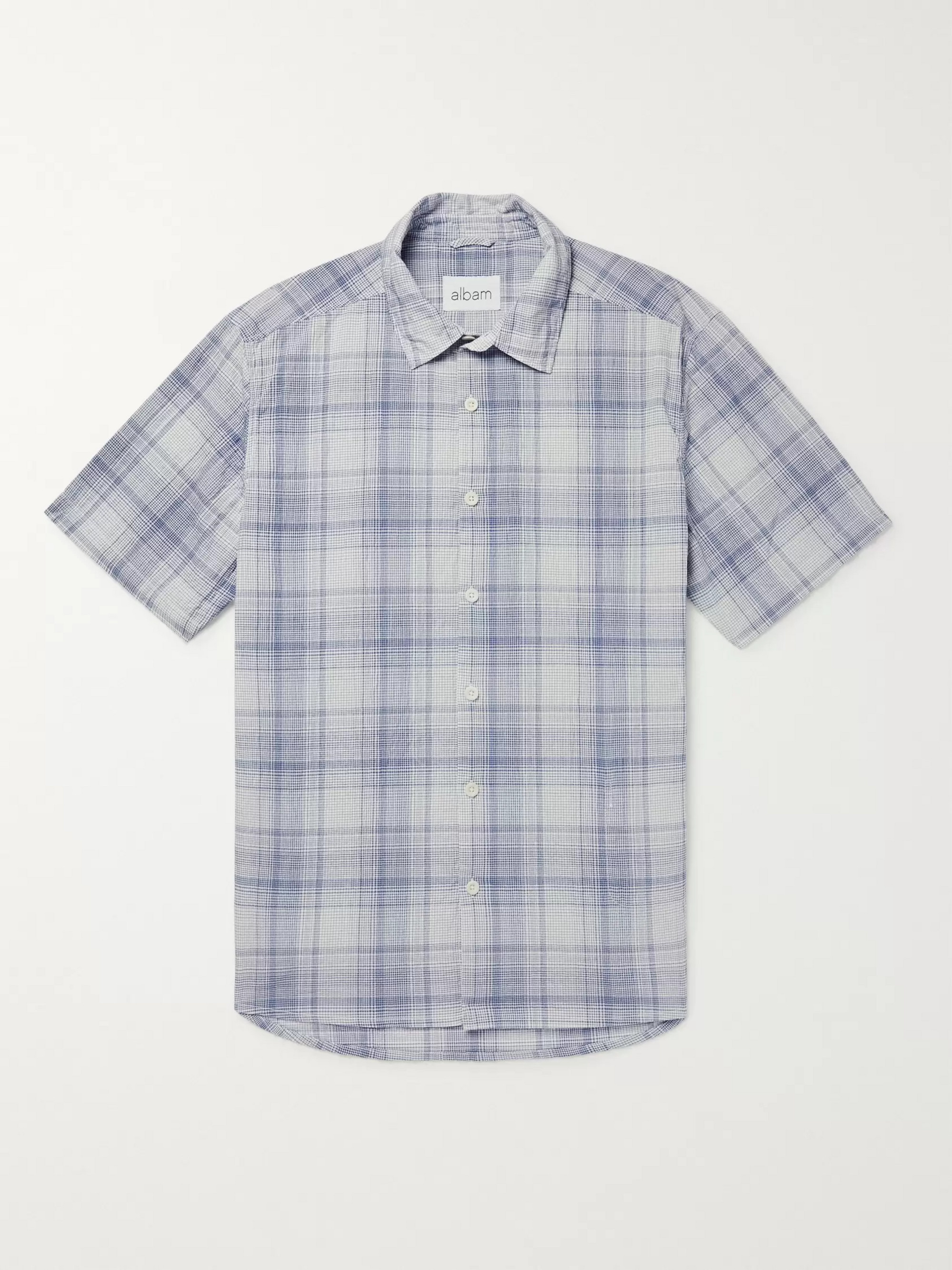 Albam Checked Cotton-Gauze Shirt