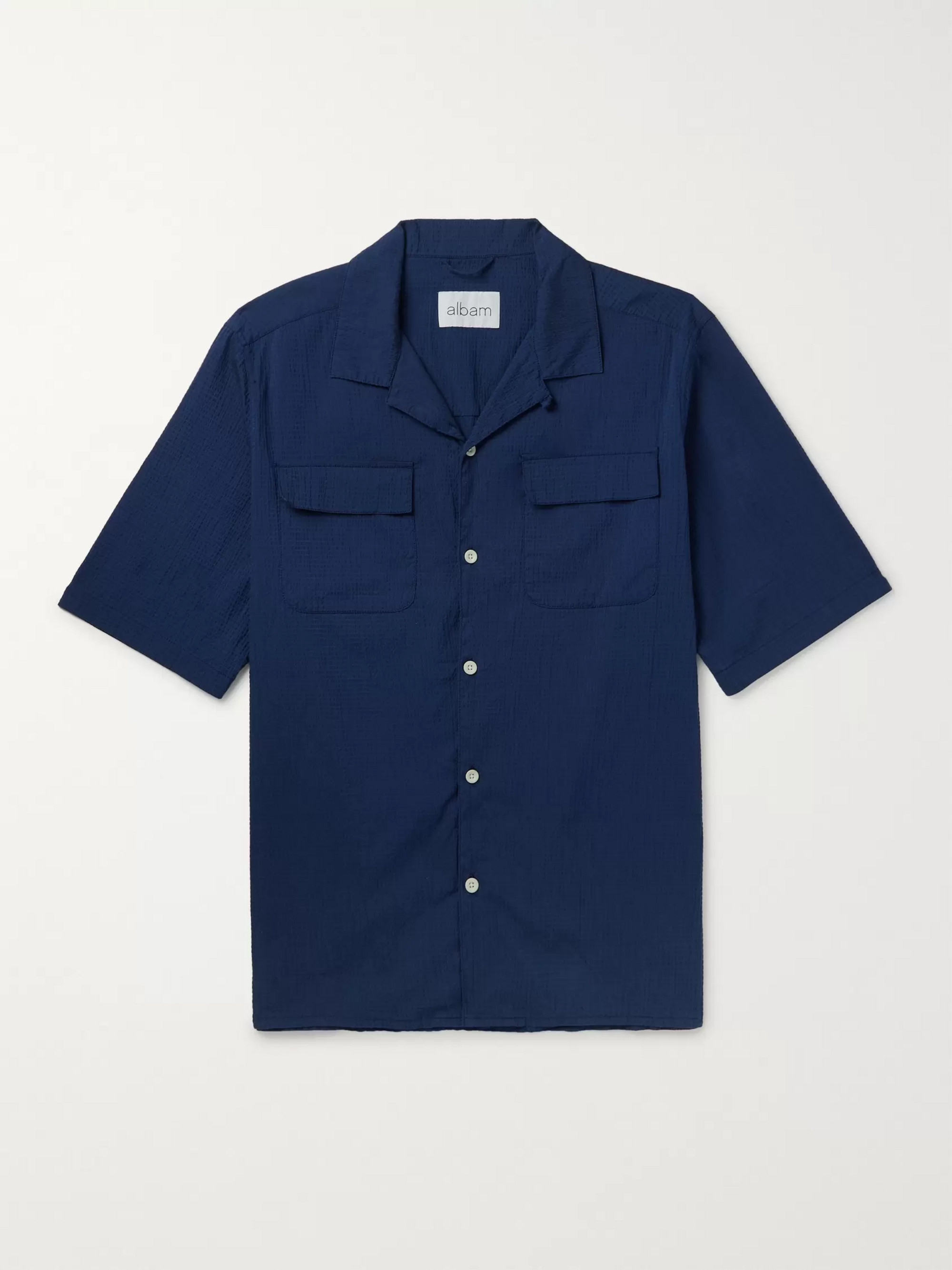 Albam Camp-Collar Cotton-Blend Seersucker Shirt