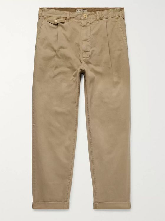 Alex Mill Tapered Pleated Cotton-Blend Twill Trousers