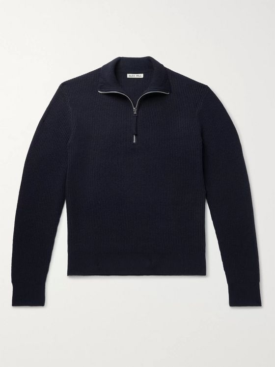 Alex Mill Ribbed Merino Wool Half-Zip Sweater