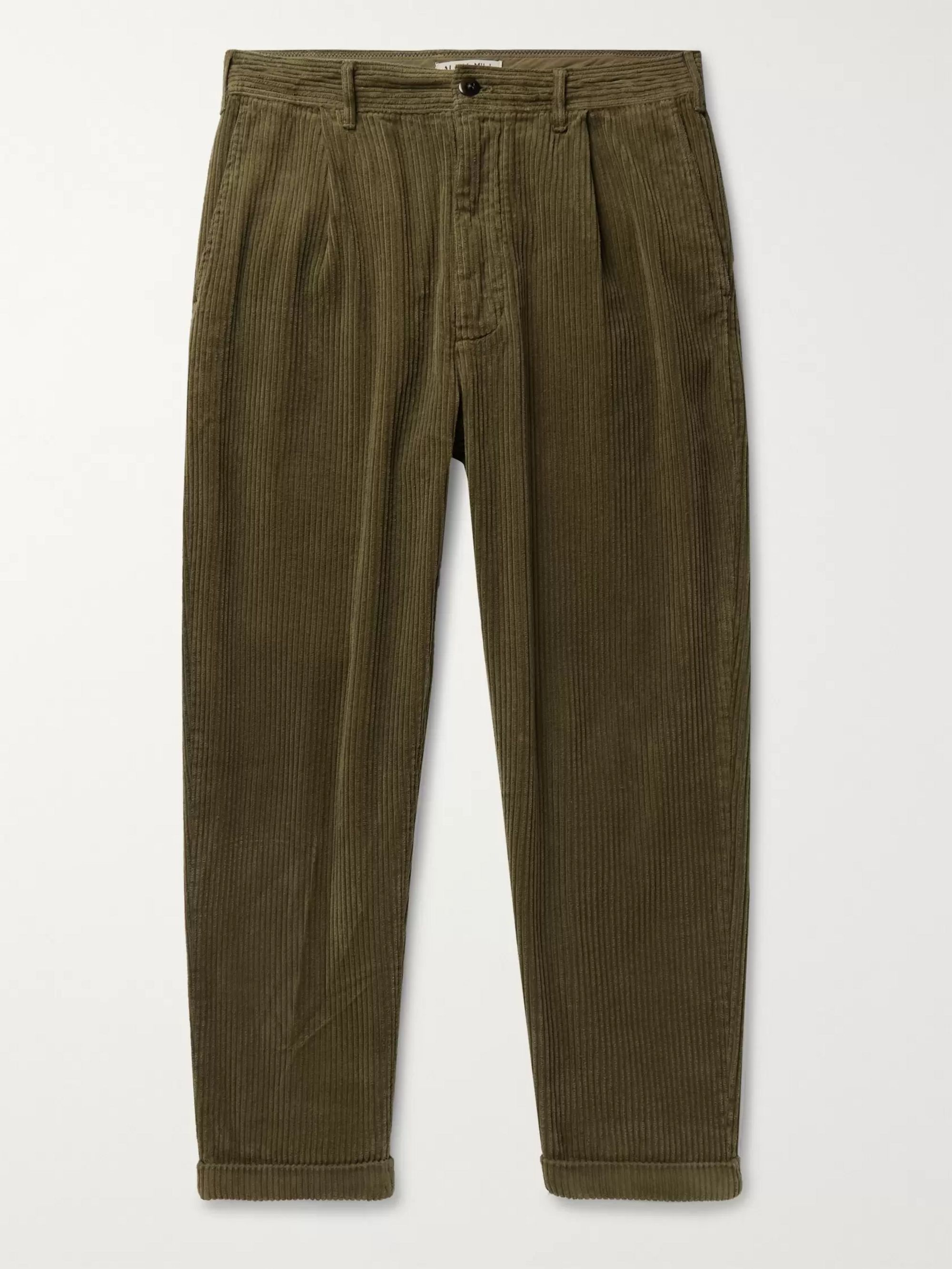 Alex Mill Tapered Pleated Cotton-Corduroy Trousers